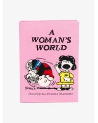 Olympia Le-Tan Pink A Woman's World Cotton Book Clutch