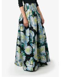 Adam Lippes Black Full Floral Skirt