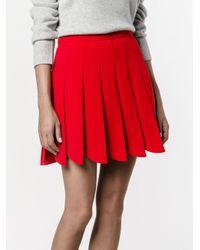 Miu Miu   Red - Pleated Mini Skirt - Women - Virgin Wool - 42   Lyst