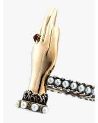 Alexander McQueen - Metallic Hand Ring - Lyst