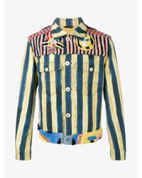 Fendi Blue John Booth Stripe Denim Jacket for men