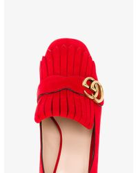 Gucci - Red Marmont Fringed Loafers - Lyst
