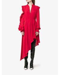 Magda Butrym Red Asymmetric Ruffled Dress
