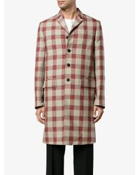 Valentino Red It Seemed To Be Tartan Coat for men