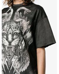 Balmain Black Oversized Tiger Print T-shirt