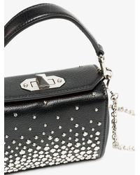 Alexander McQueen Black Leather Box Bag With Studs And Silver Chain