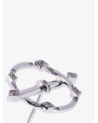 Yvonne Léon Metallic 18k White Gold And Diamond Circle Earring
