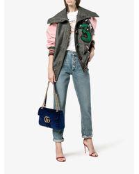 Gucci Blue Gg Marmont Velvet Shoulder Bag