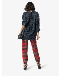 Balenciaga Black Oversized Long Sleeve Flannel Check Cotton Shirt