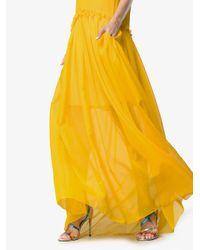 Rosie Assoulin - Yellow Semi Sheer Ruffle Long Silk Dress - Lyst