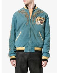 Gucci - Blue Loved Embroidered Bomber Jacket for Men - Lyst