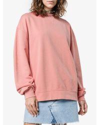 Acne Pink Yana Ribbed Logo Collar Sweatshirt