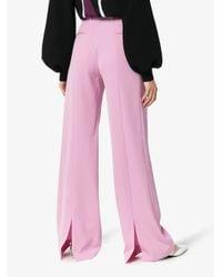 Stella McCartney Pink Slit Hem Tailored Wool Trousers