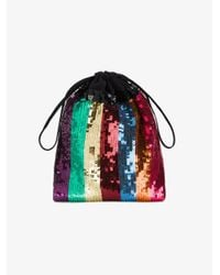 Attico - Metallic Sequin Embellished Striped Pouch - Lyst