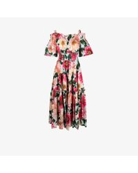Dolce & Gabbana White Off-the-shoulder Floral Print Dress