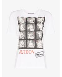 Versace White Donatella Print Cotton T-shirt