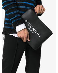 Givenchy Black Logo Leather Clutch for men