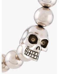 Alexander McQueen - Gray Beaded Skull Bracelet for Men - Lyst