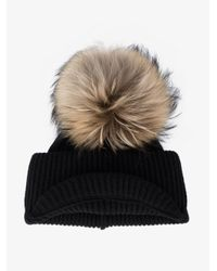 Inverni - Black Ribbed Cashmere Hat With Visor And Fur Pom Pom - Lyst