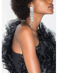 Alessandra Rich Metallic Silver Tone Crystal Cascade Earrings