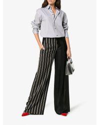 Esteban Cortazar Black Side Closure Striped Wool Blend Trousers