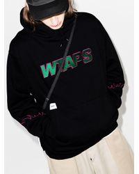 (w)taps Black Drifters Logo Hoodie for men