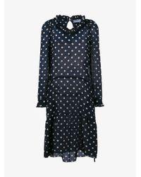 Balenciaga - Blue Polka Dot Midi-dress - Lyst