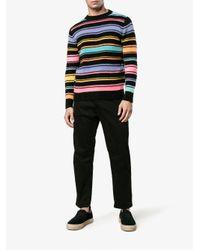 The Elder Statesman Black Crazy Stripe Painted Jumper for men