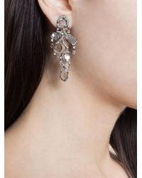 Saqqara Metallic 18kt White Gold And Diamond 'flow' Earrings