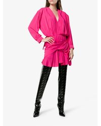 Balenciaga Pink V Neck Uplifted Dress