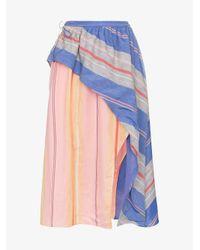 A Peace Treaty Multicolor Tarouba Stripe High Waist Silk Cotton-blend Skirt
