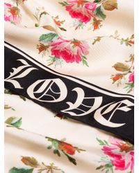 Gucci Green Rose Print Scarf