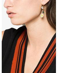 Miu Miu Multicolor Daisy Earrings With Crystals