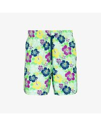 Vilebrequin Green Floral Turtle Print Swim Shorts for men