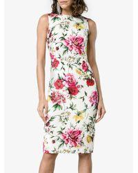 Dolce & Gabbana - White Sleeveless Floral Brocade Dress - Lyst