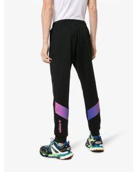 Adidas Black Degrade Panel Cotton Blend Track Pants for men