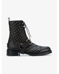 Valentino Black Rockstud Quilted Lace-up Boots