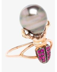 Daniela Villegas Red Ruby And Pearl Beetle Ring