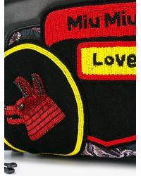 Miu Miu - Black - Small Floral Jacquard Backpack - Women - Leather/nylon/pvc - One Size - Lyst