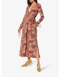 Attico Blue Jacquard Maxi Robe Dress
