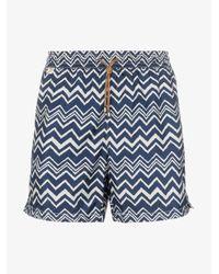 Missoni Blue Zigzag Printed Swim Shorts for men