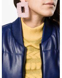 Dries Van Noten Pink Chunky Square Beaded Earrings