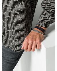 Saint Laurent - Black Leather Logo Bracelet for Men - Lyst
