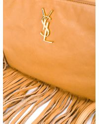Saint Laurent - Brown Fringed Leather Cross Body Pouch - Lyst
