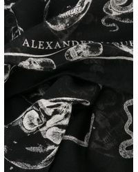 Alexander McQueen Multicolor Skull Print Silk Blend Scarf for men