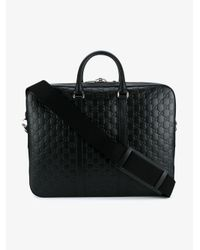 5cc37b9659d8 Lyst - Gucci Logo Embossed Briefcase in Black for Men