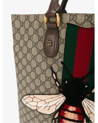 Gucci Multicolor Leather And Suede Bee Embroidered Tote