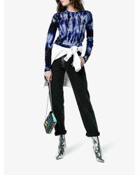 Proenza Schouler Blue Merino Wool Tie Dye Crewneck Top