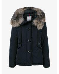 Moncler | Blue Fox Fur Trimmed Short Fitted Parka Jacket | Lyst