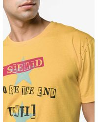 Valentino Yellow It Seemed To Be Printed T-shirt for men